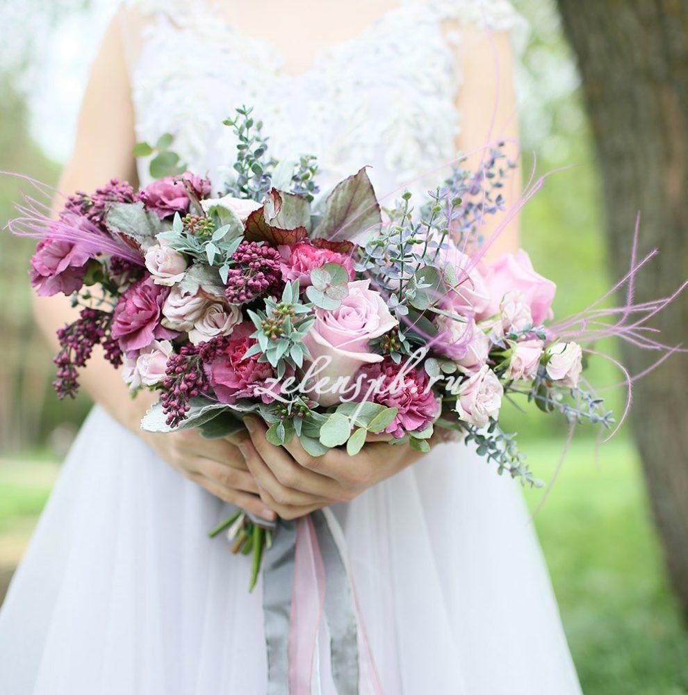 Свадьба в винно-розовых тонах. Букет невесты.
