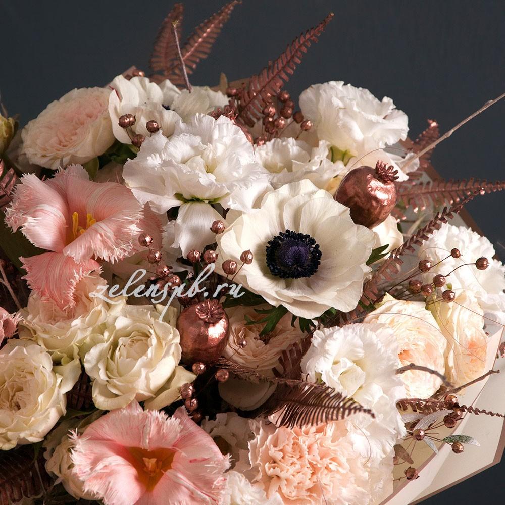 Круглый букет пудровой гамме №8 - цветы в Спб