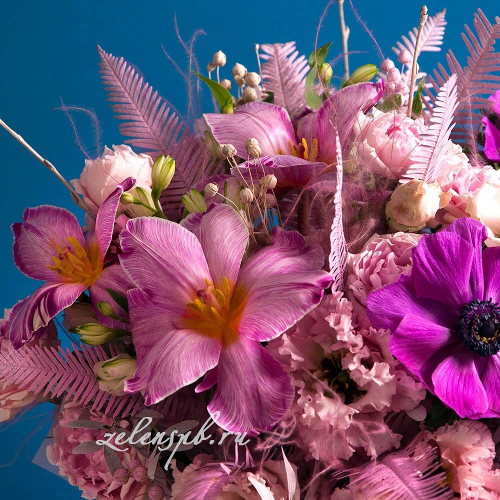 Круглый букет в розовой гамме тюльпанами №9 - цветы в Спб