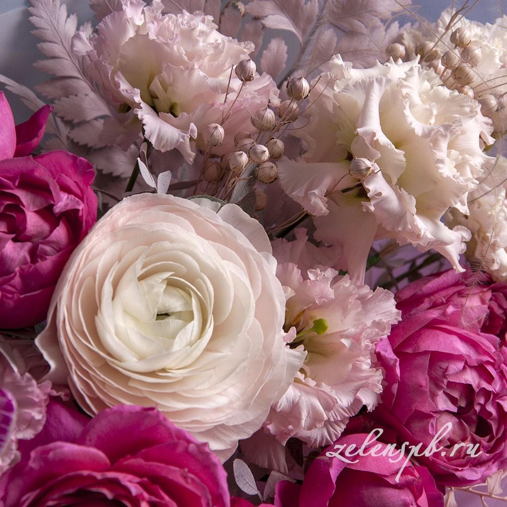 Букет в малиново-розовой гамме №12 - цветы в Спб