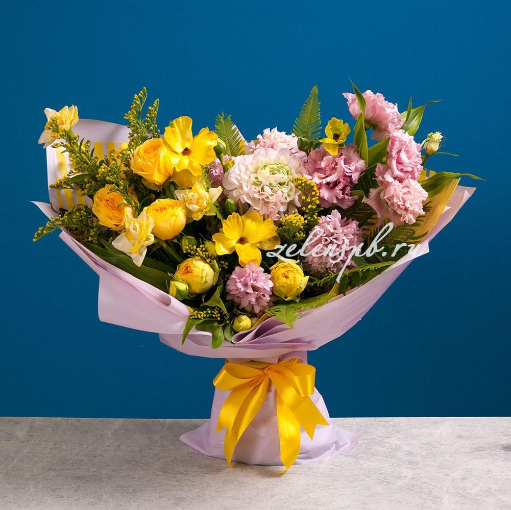 Букет розово-желтой гамме №15 - купить цветы в Санкт Петербурге