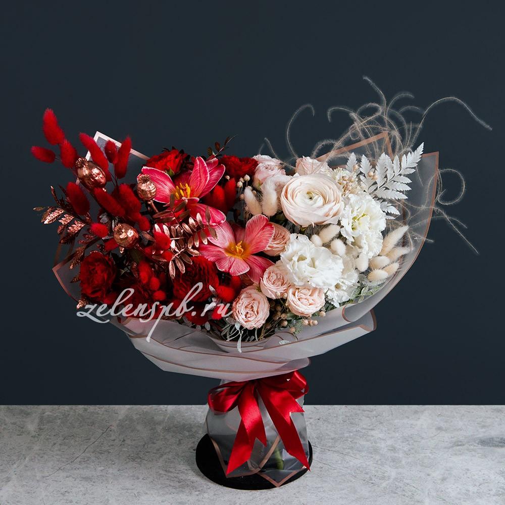 Букет в бело-красной гамме №16 - купить цветы в Санкт Петербурге