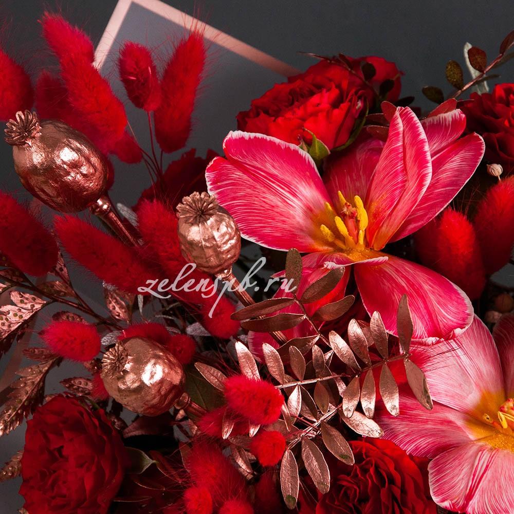 Букет в бело-красной гамме №16 - цветы в Спб