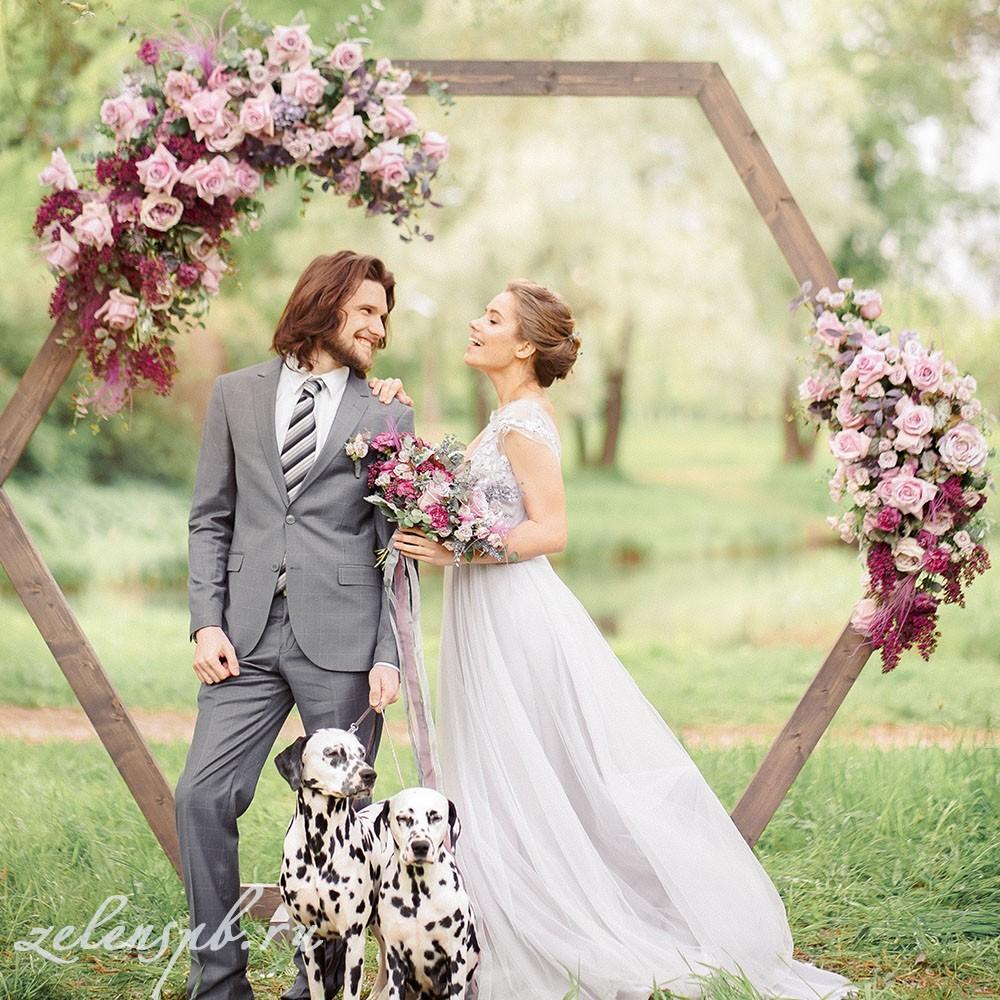 Свадьба в винно-розовых тонах. Невеста и жених.