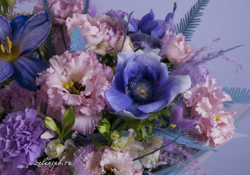 Круглый букет в фиолетовой гамме №6 - цветы в Спб