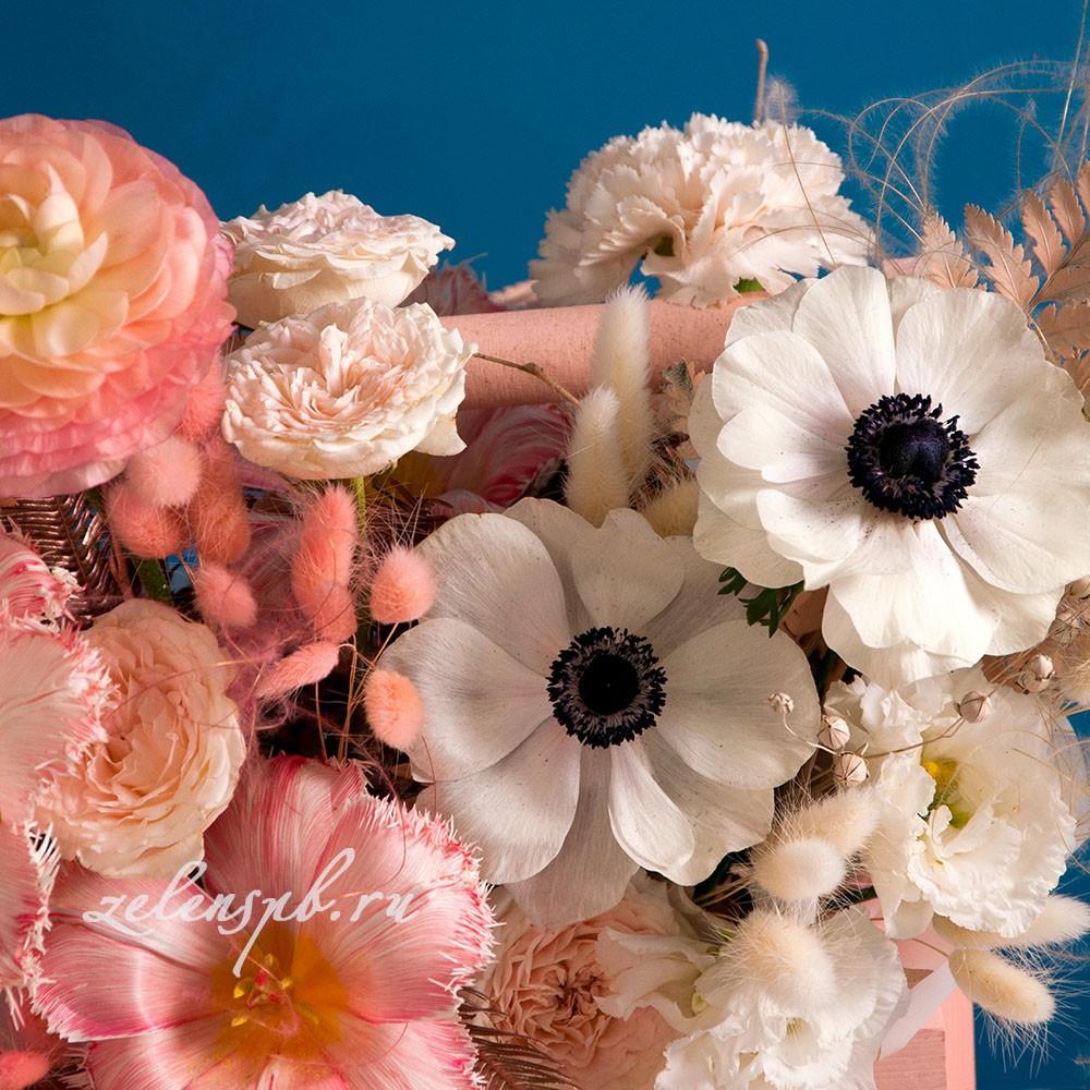 Ящик в персиковой гамме №6 - цветы в Спб