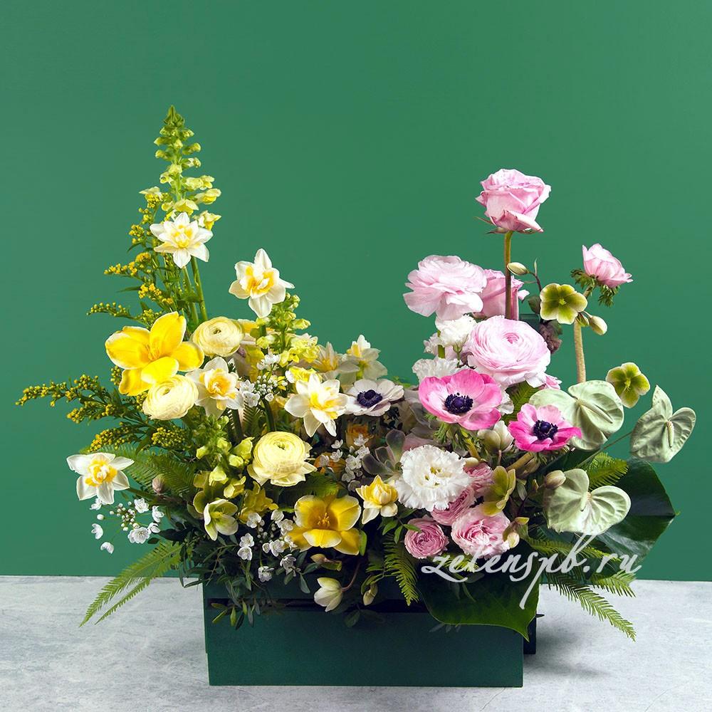 Ящик в лимонно-розовой гамме №7 - купить цветы в Санкт Петербурге