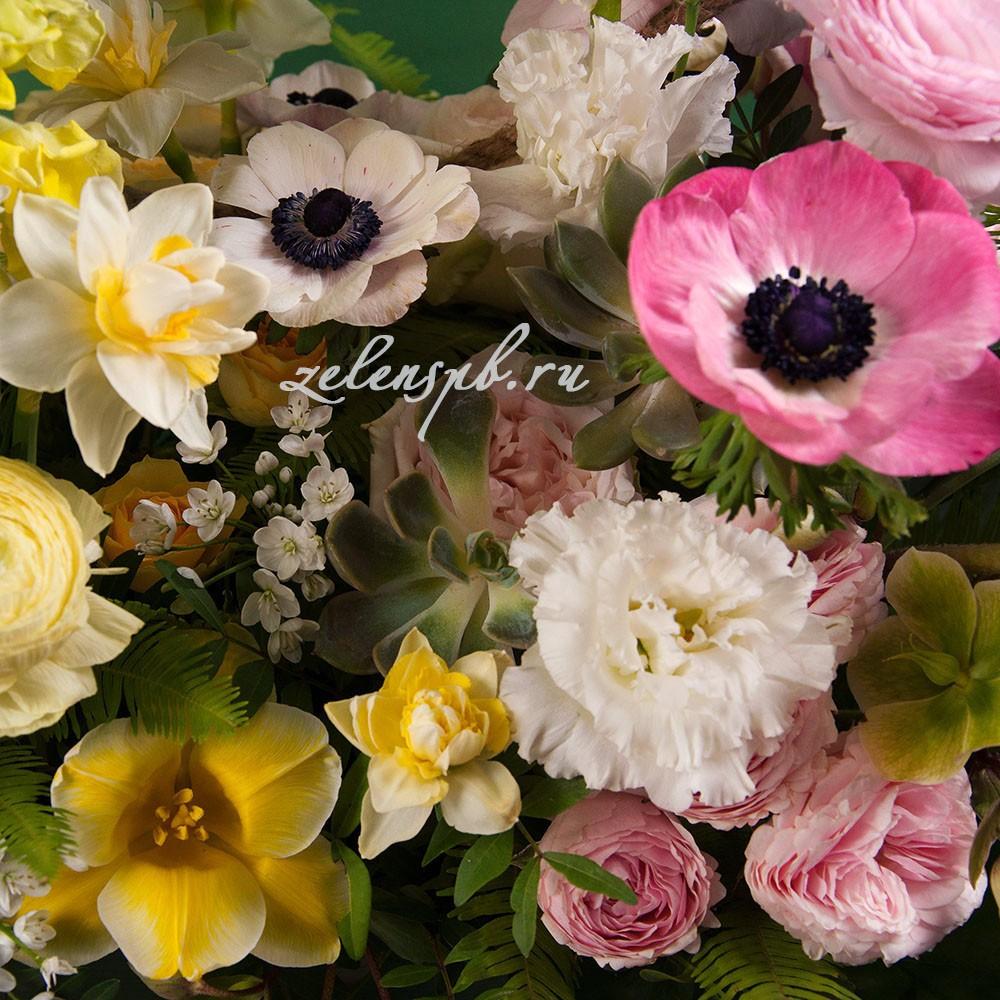 Ящик в лимонно-розовой гамме №7 - цветы в Спб