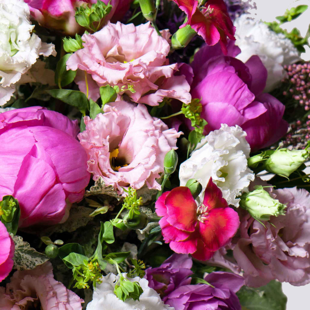 Круглый букет в розовой гамме с пионами №18 - цветы в Спб