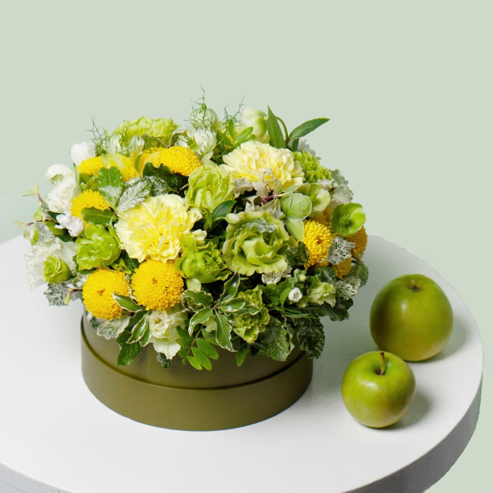 Коробка в зелено-желтой гамме №1 - купить цветы в Санкт Петербурге