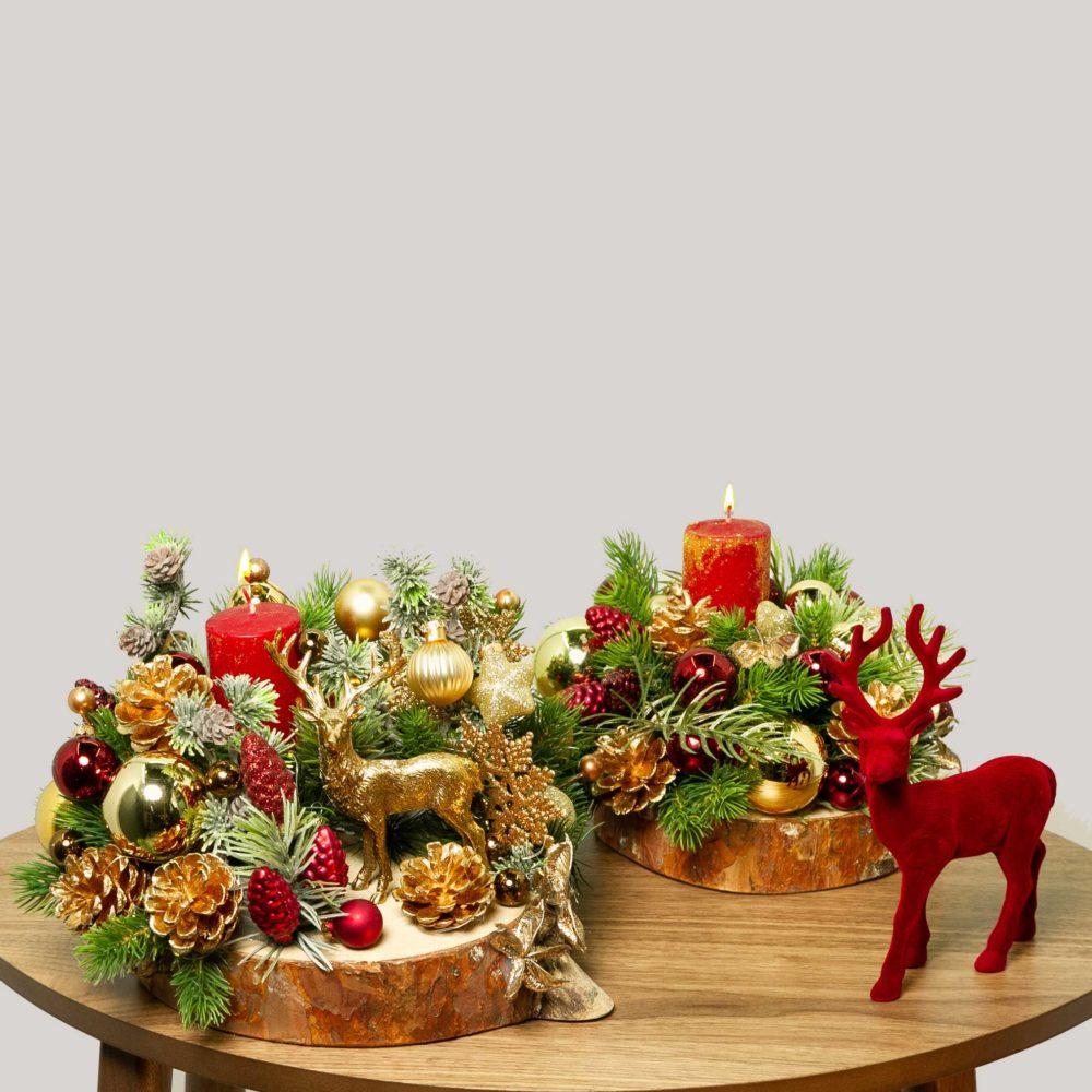 Новогодняя композиция в красно-золотой гамме №33 - цветы в Спб