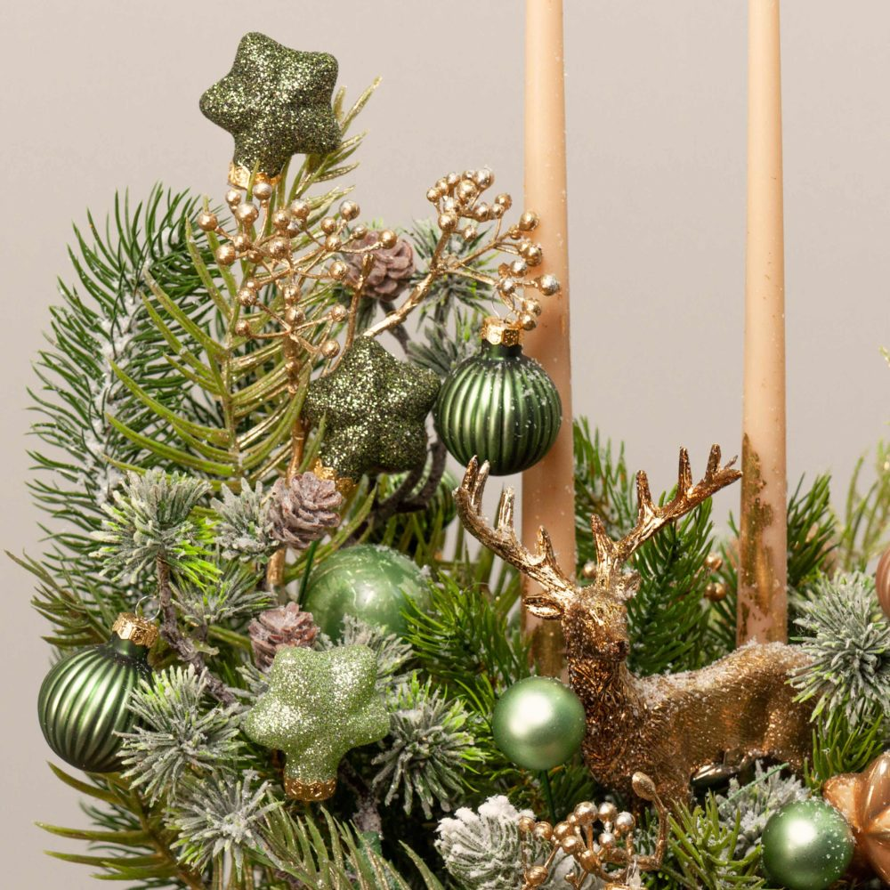 Новогодняя композиция в золотисто-зеленой гамме №44 - цветы в Спб