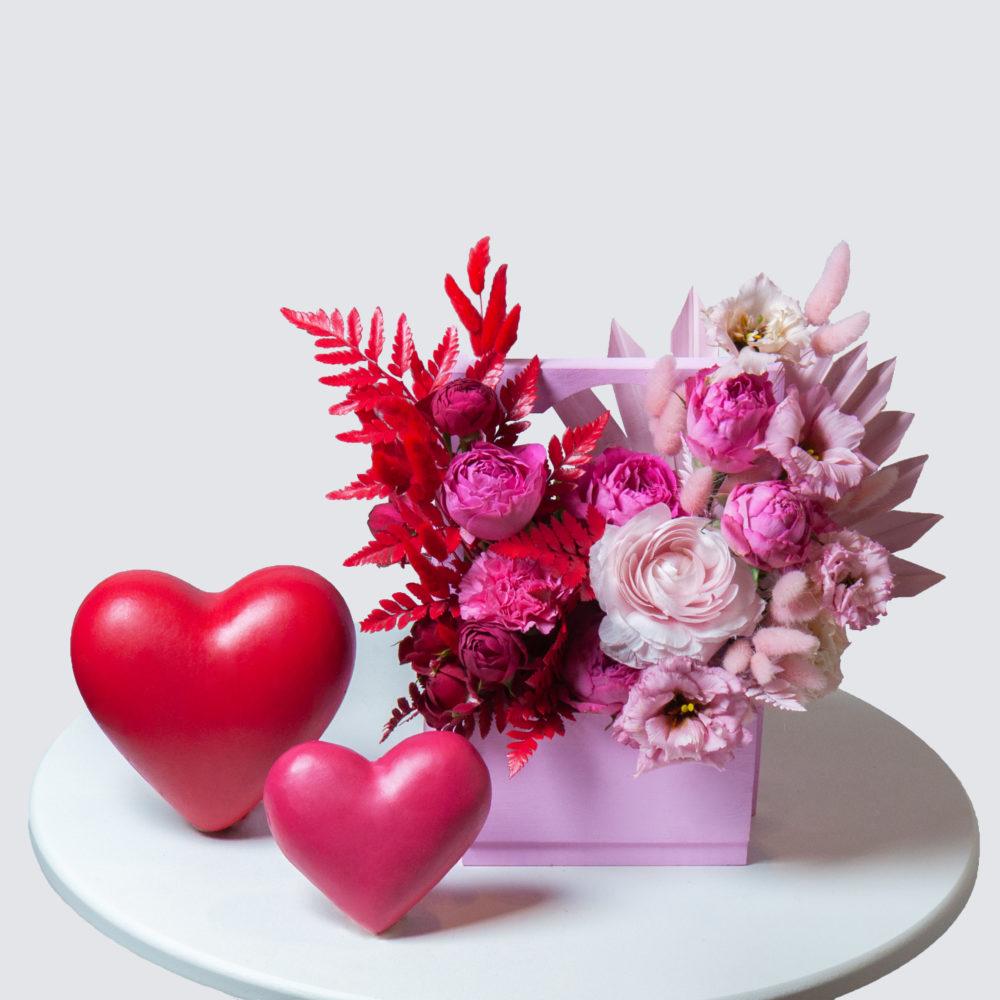 Ящик в красно-розовой гамме №13 - купить цветы в Санкт Петербурге