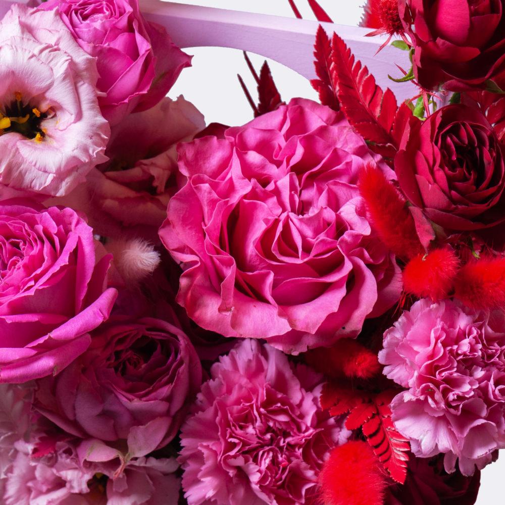Ящик в красно-розовой гамме №12 - цветы в Спб
