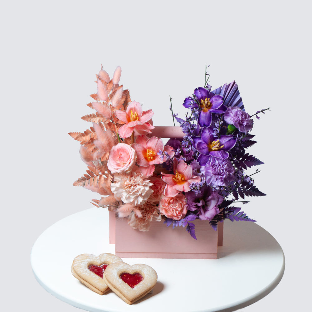 Ящик в лавандово-персиковой гамме №16 - купить цветы в Санкт Петербурге
