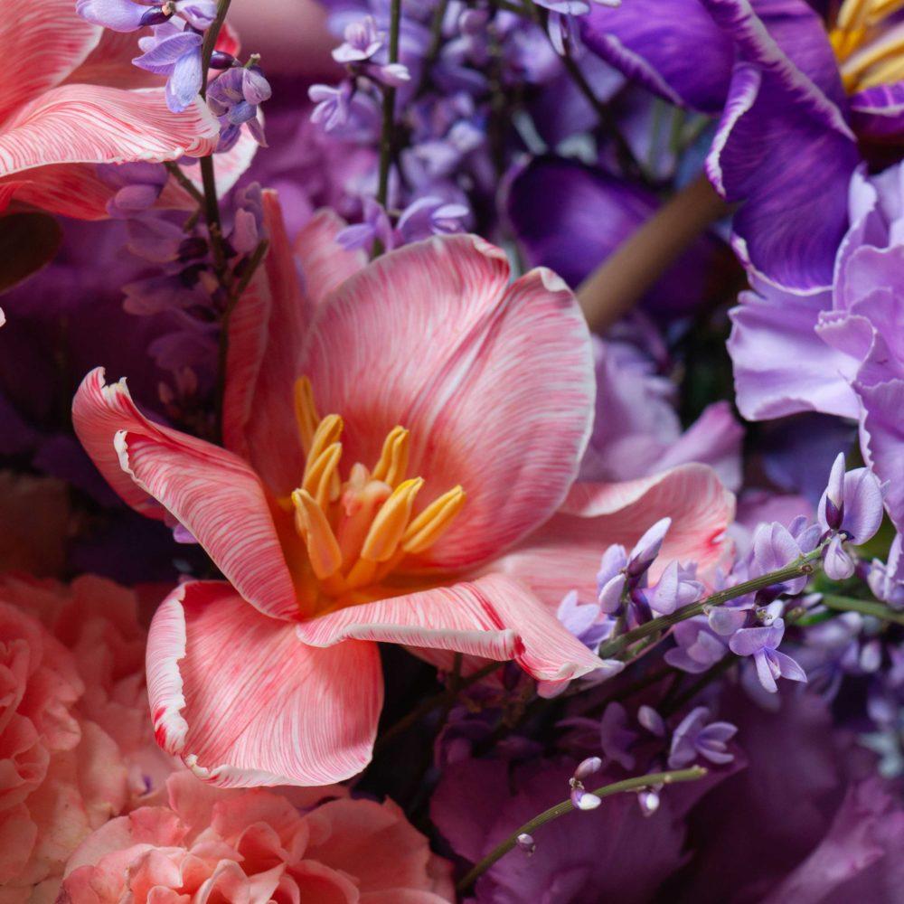 Ящик в лавандово-персиковой гамме №16 - цветы в Спб