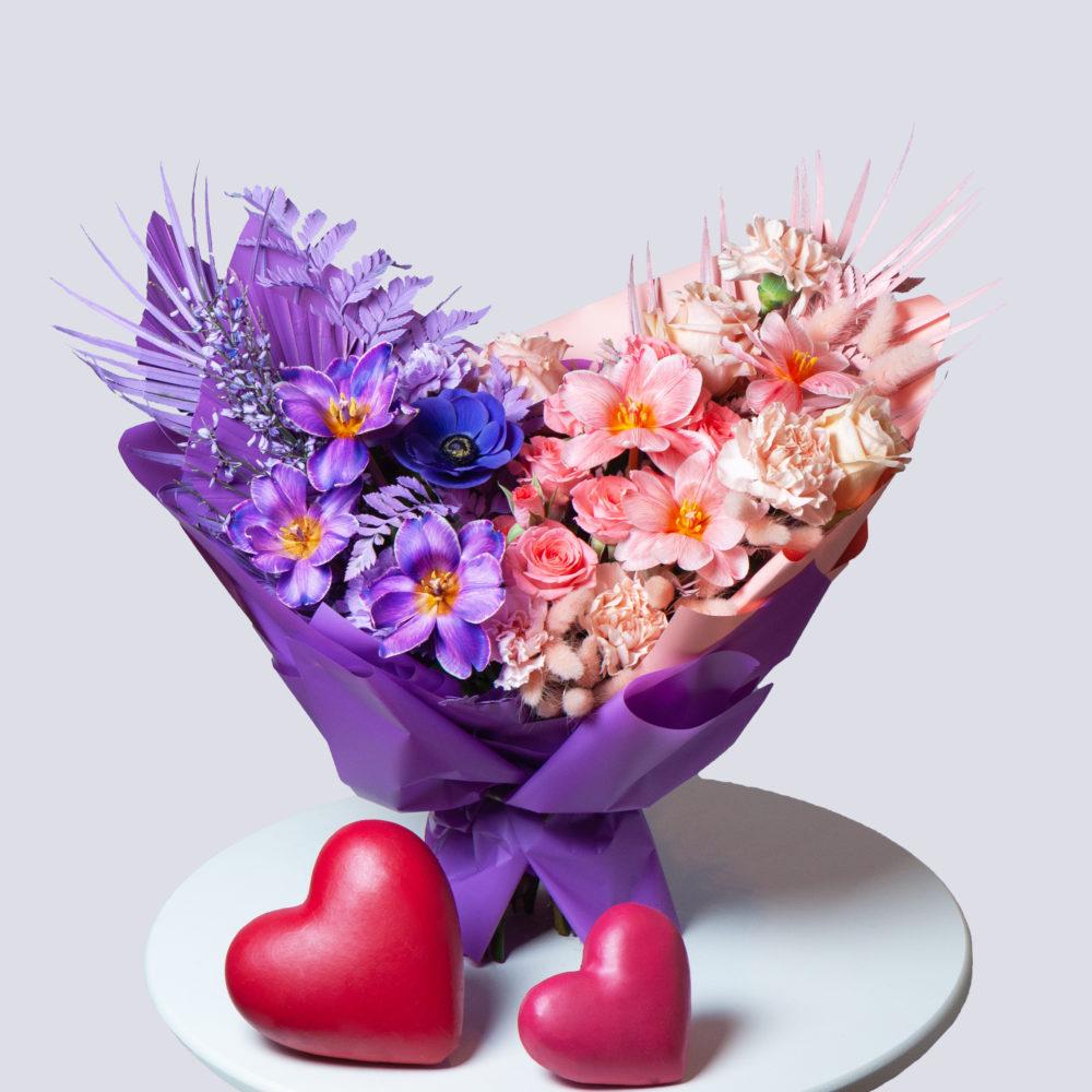 Букет в лавандово-персиковой гамме №38 - купить цветы в Санкт Петербурге