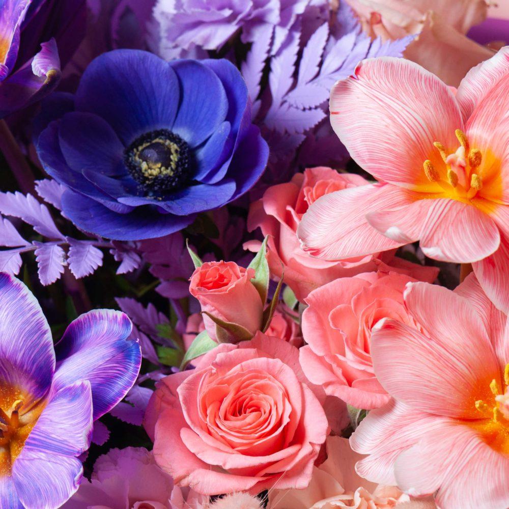 Букет в лавандово-персиковой гамме №38 - цветы в Спб