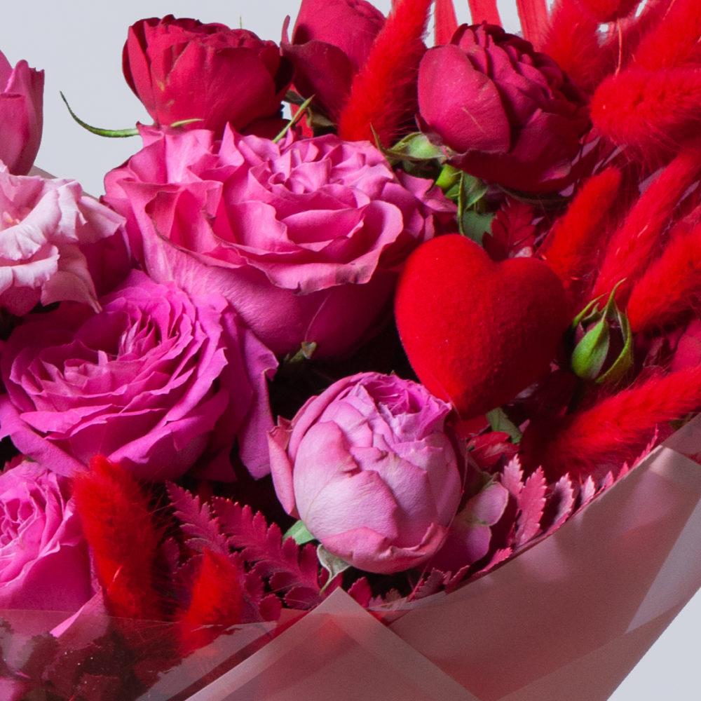 Букет в розово-красной гамме №34 - цветы в Спб