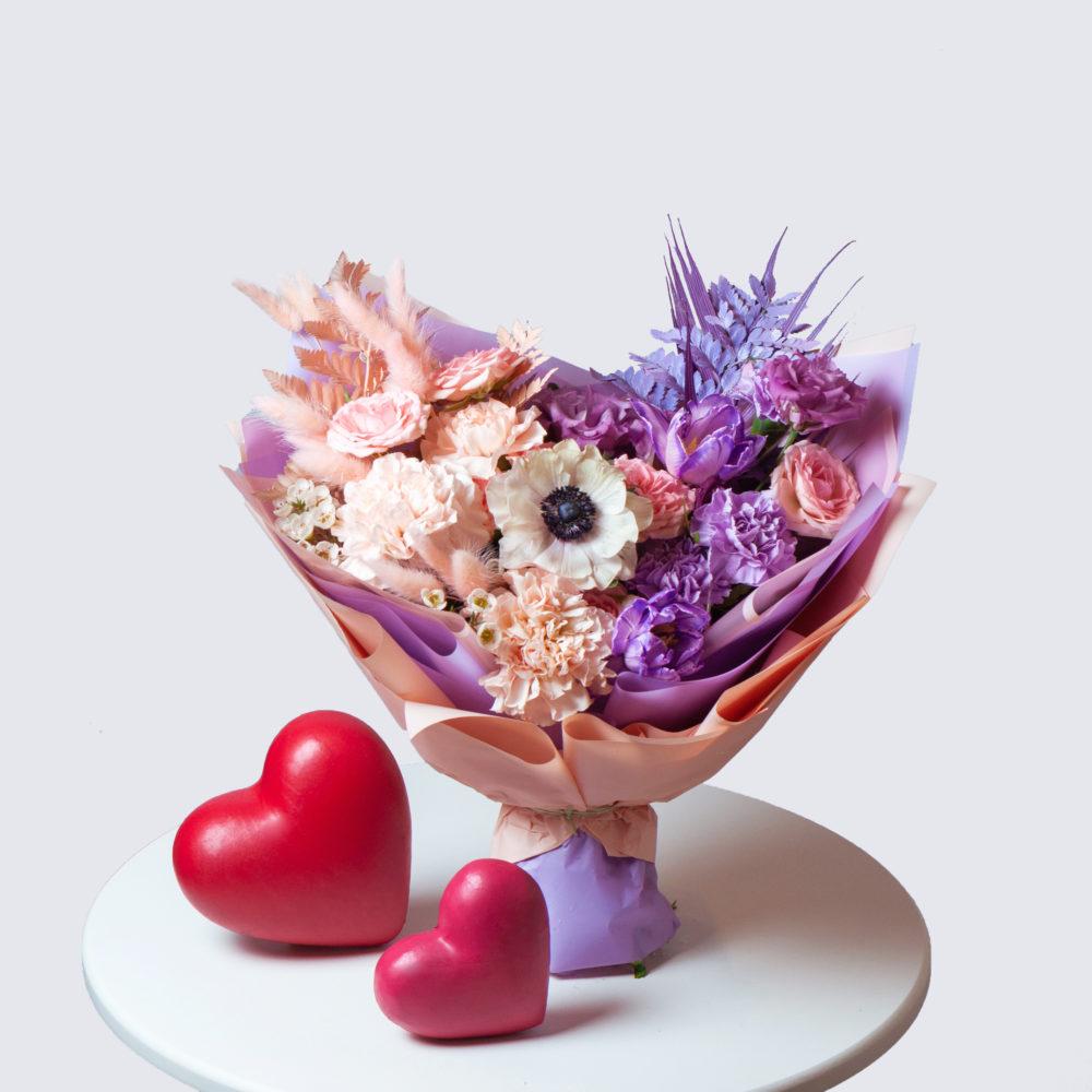 Букет в лавандово-персиковой гамме №37 - купить цветы в Санкт Петербурге