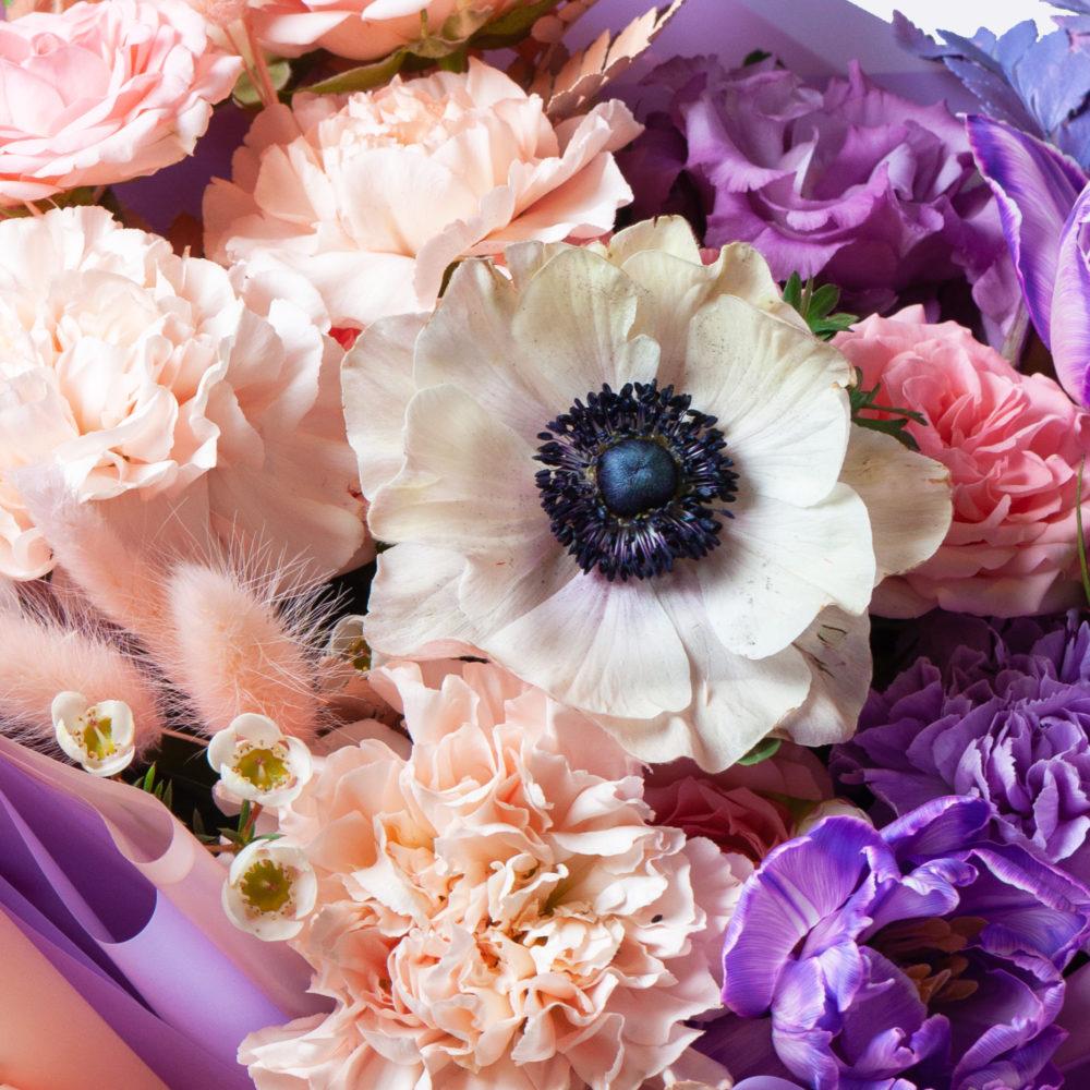 Букет в лавандово-персиковой гамме №37 - цветы в Спб