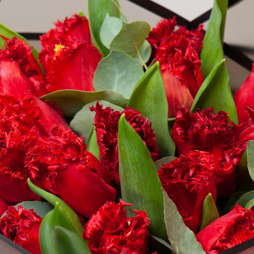 Монобукет из красных тюльпанов №11 - цветы в Спб