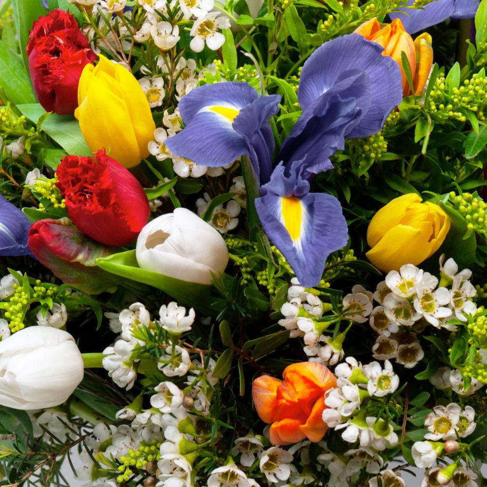 Круглый букет с разноцветными тюльпанами №43 - цветы в Спб