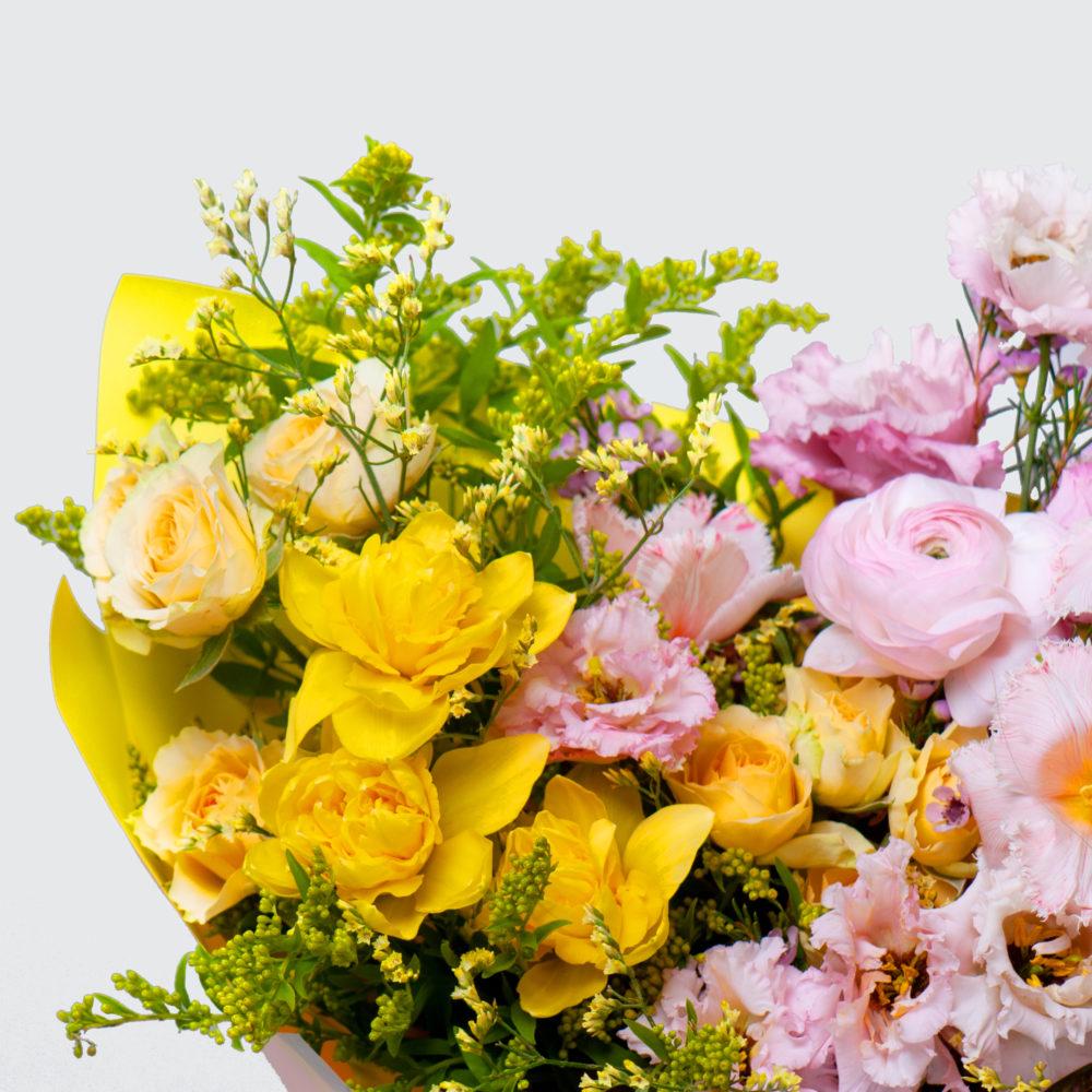 Букет в желто-розовой гамме №45 - цветы в Спб