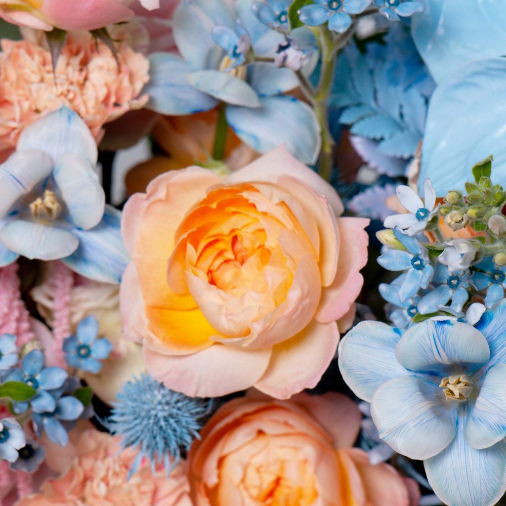Ящик в розово-голубой гамме №18 - цветы в Спб