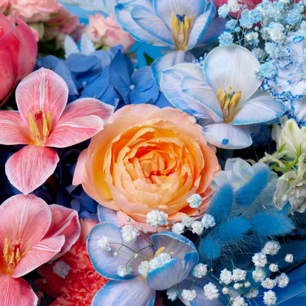 Букет в розово-голубой гамме №47 - цветы в Спб