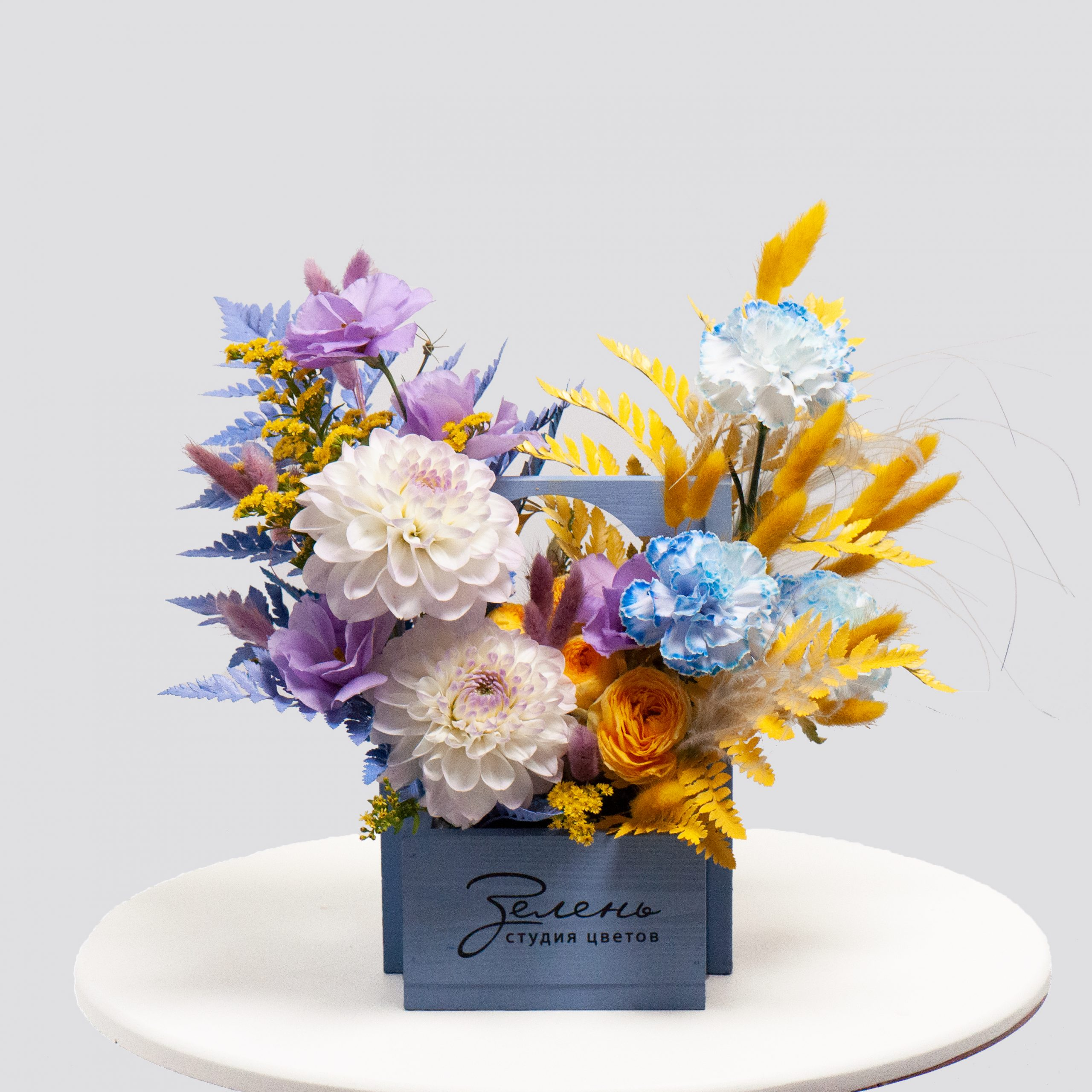 Ящик в сине-желтой гамме №25 - купить цветы в Санкт Петербурге