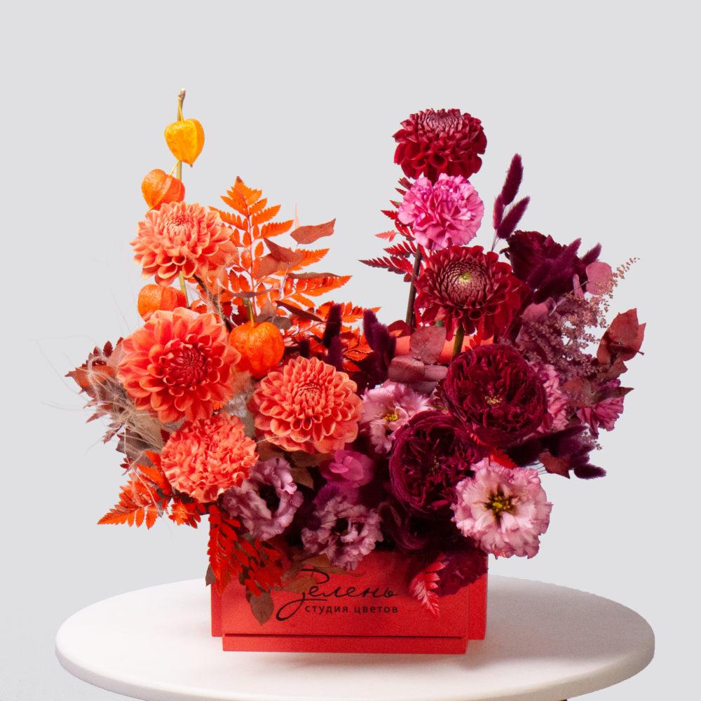 Ящик в оранжево-бордовой гамме №32 - купить цветы в Санкт Петербурге