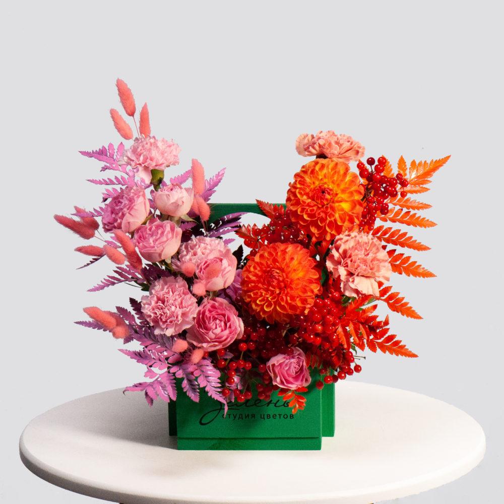 Ящик в розово-оранжевой гамме №29 - купить цветы в Санкт Петербурге