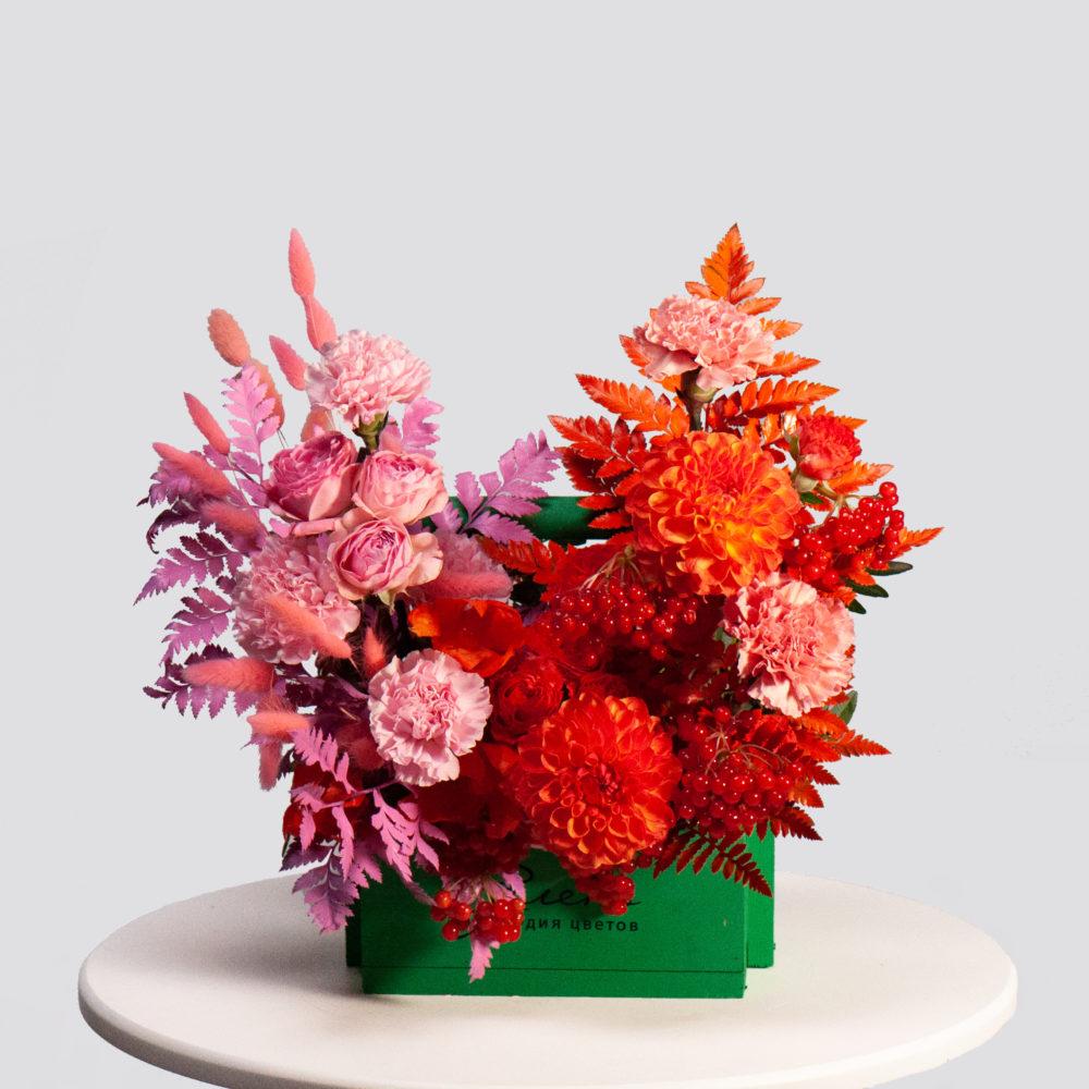 Ящик в розово-оранжевой гамме №30 - купить цветы в Санкт Петербурге