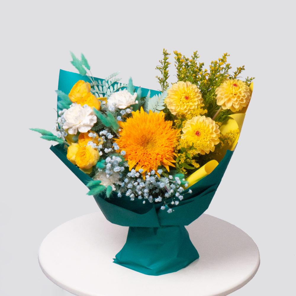 Букет в желто-голубой гамме №65 - купить цветы в Санкт Петербурге