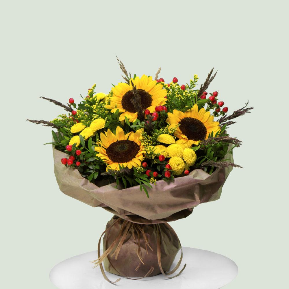 Круглый Букет с подсолнухами №28 - купить цветы в Санкт Петербурге