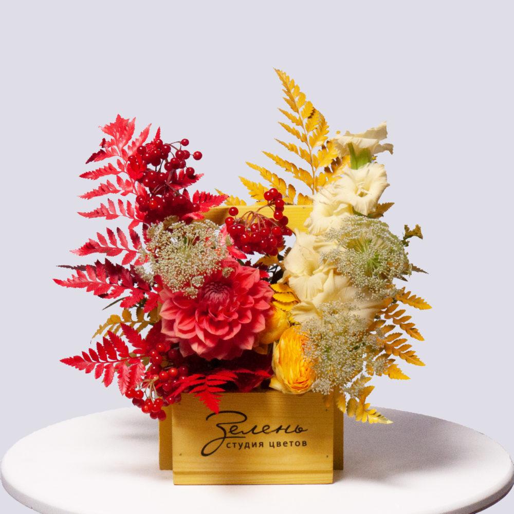 Ящик в красно-желтой гамме №31 - купить цветы в Санкт Петербурге