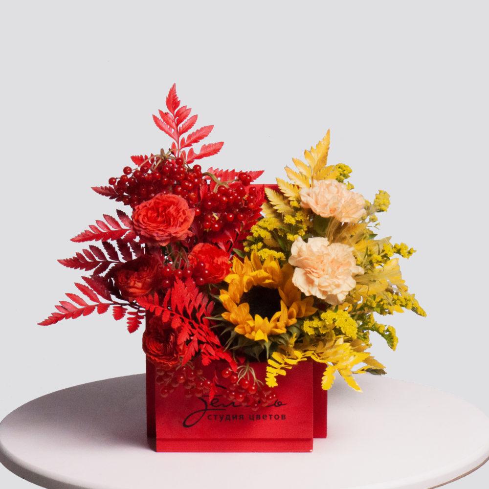 Ящик в желто-красной гамме №34 - купить цветы в Санкт Петербурге