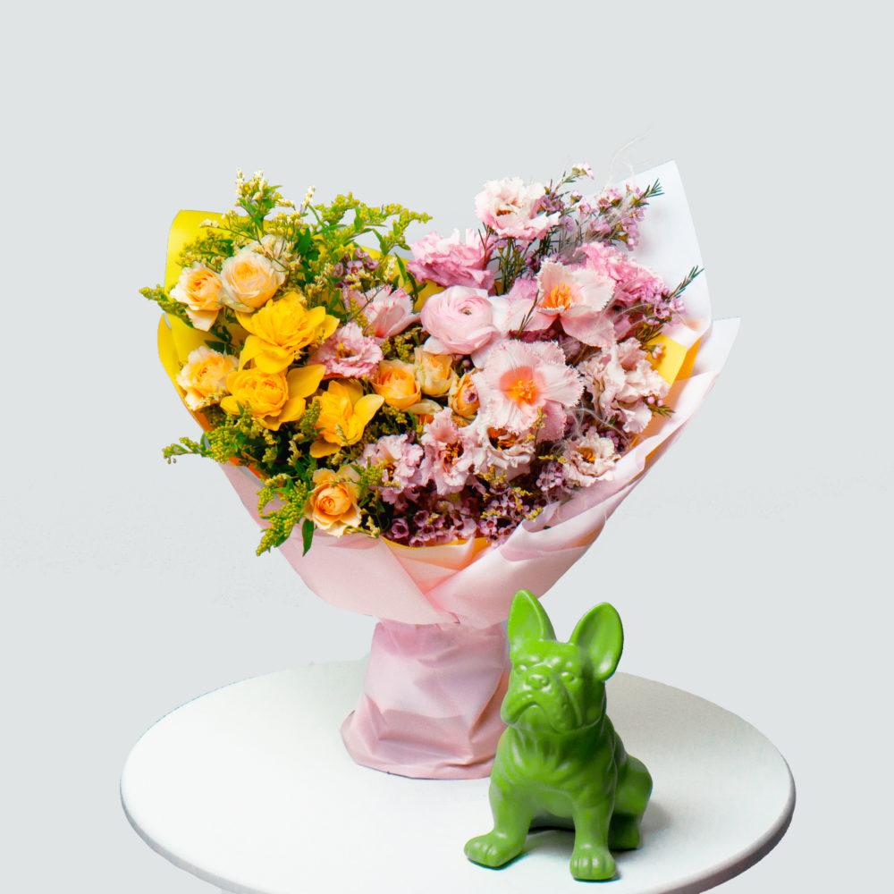 Букет в желто-розовой гамме №45 - купить цветы в Санкт Петербурге