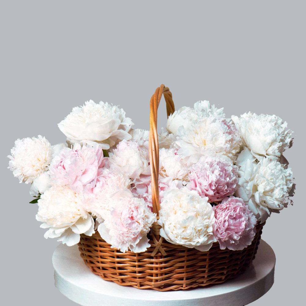 Корзина из пионов №5 - купить цветы в Санкт Петербурге