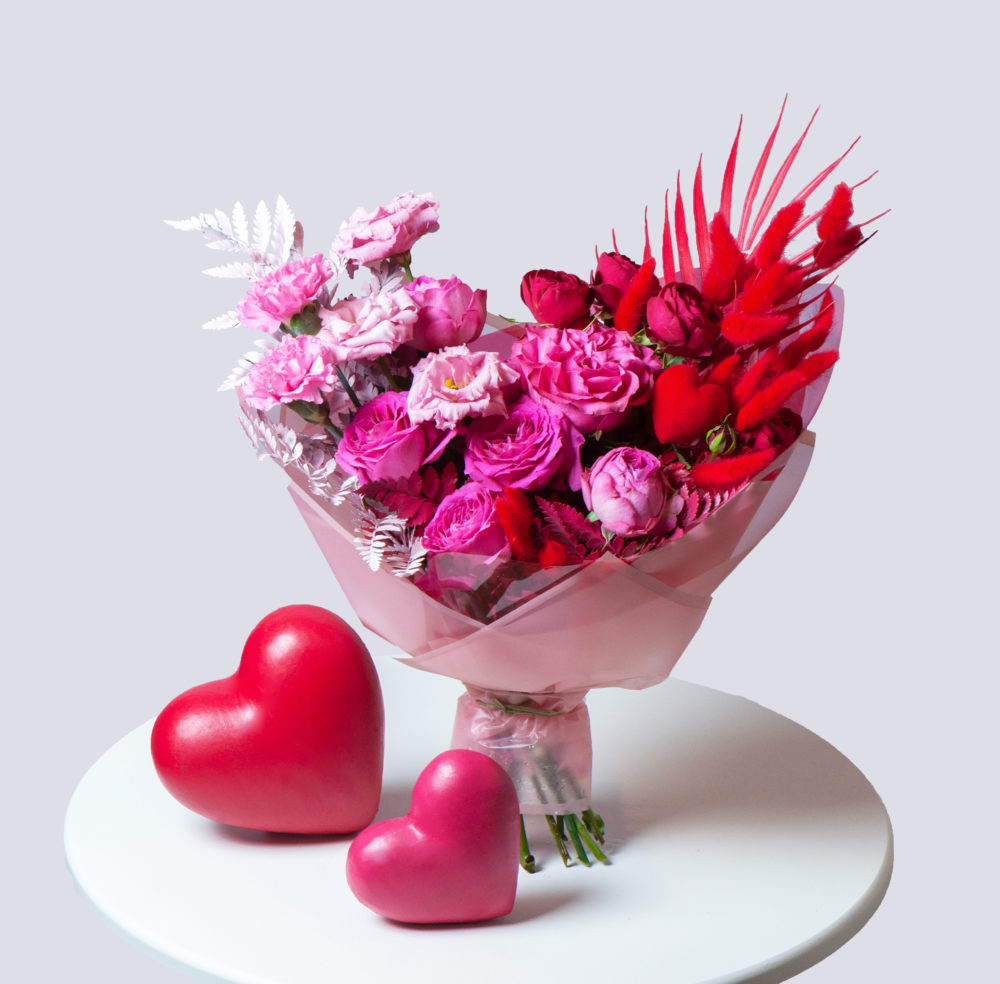 Букет в розово-красной гамме №34 - купить цветы в Санкт Петербурге