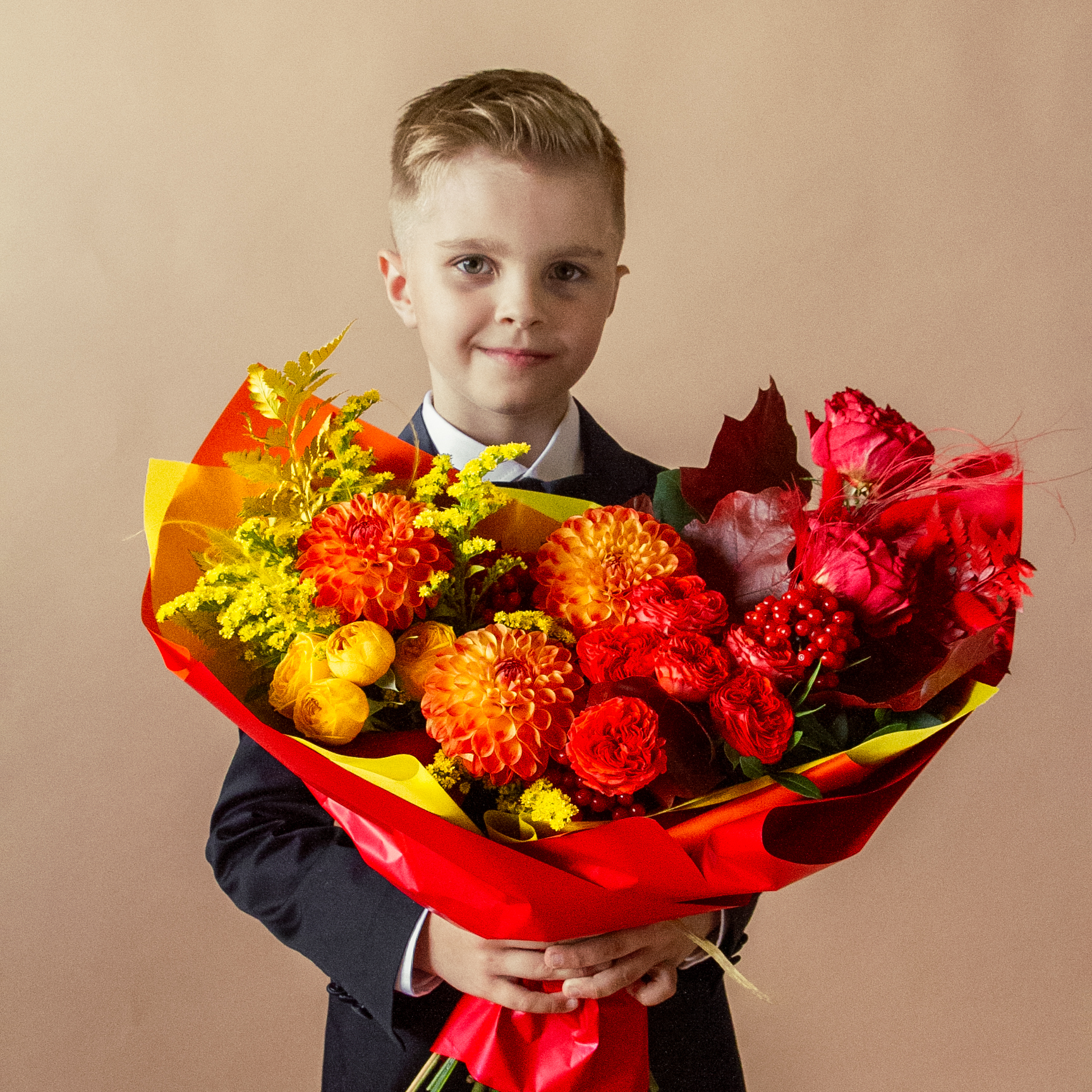 Букет в красно-желтой гамме №58 - купить цветы в Санкт Петербурге