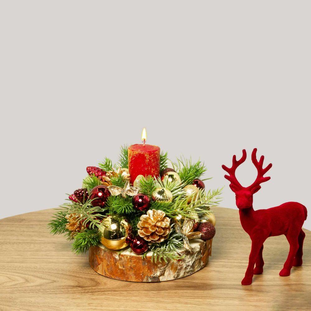 Новогодняя композиция в красно-золотой гамме №33 - купить цветы в Санкт Петербурге