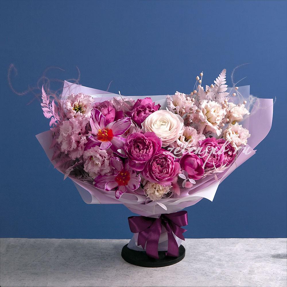 Букет в малиново-розовой гамме №12 - купить цветы в Санкт Петербурге
