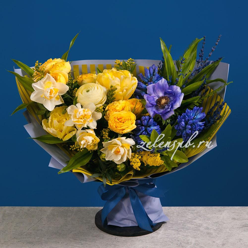Букет в желто-синей гамме №14 - купить цветы в Санкт Петербурге