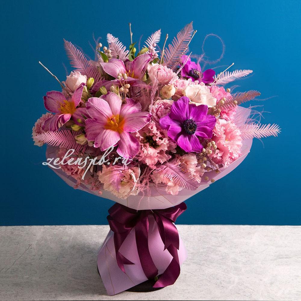 Круглый букет в розовой гамме тюльпанами №9 - купить цветы в Санкт Петербурге