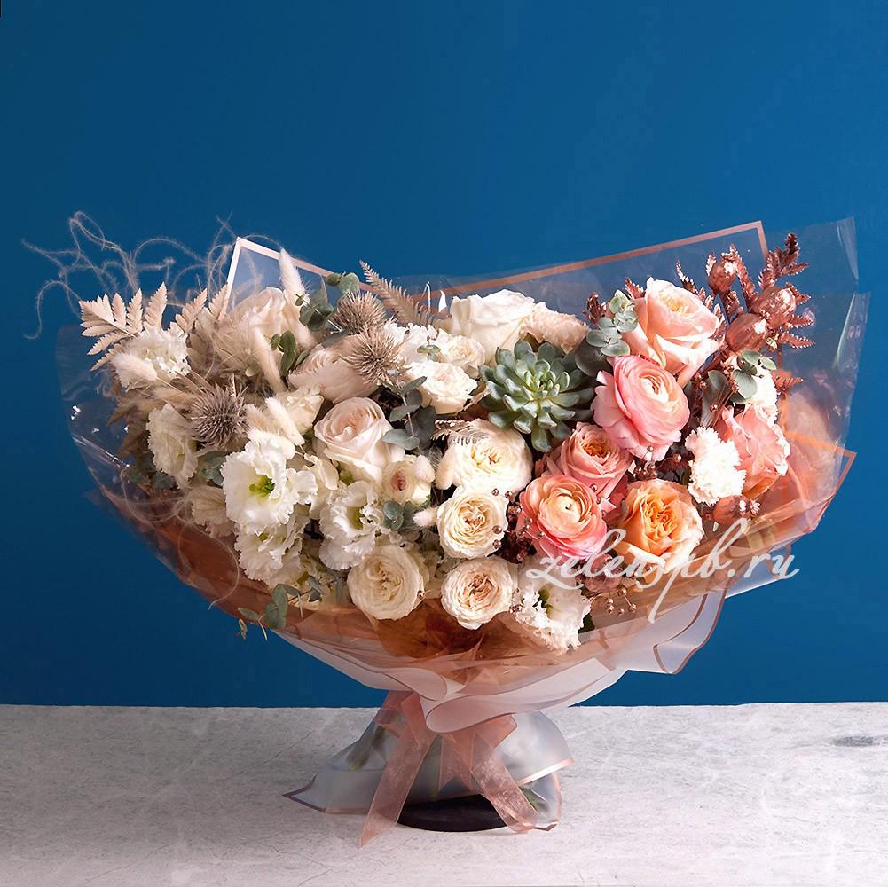 Букет в пудровой гамме №11 - купить цветы в Санкт Петербурге