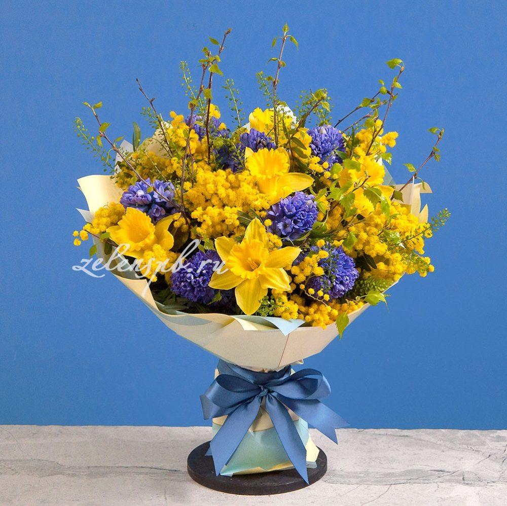Букет с синими гиацинтами и мимозой №6 - купить цветы в Санкт Петербурге