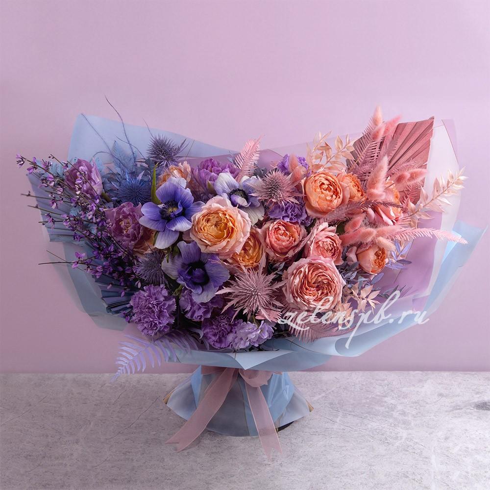 Букет в фиолетово-персиковой гамме №4 - купить цветы в Санкт Петербурге