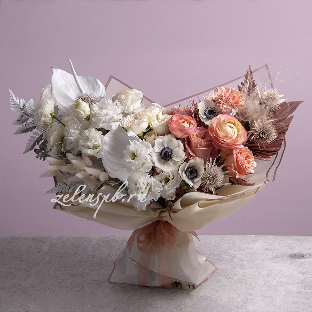 Букет в пудровой гамме №5 - купить цветы в Санкт Петербурге